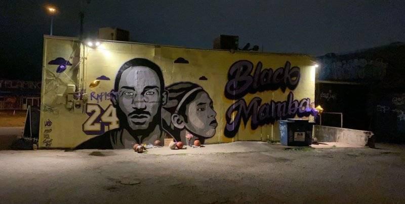 洛杉矶一片混乱,科比的壁画却受到保护