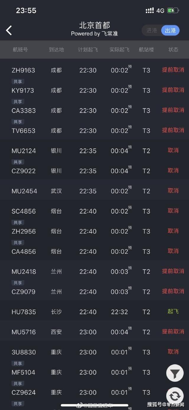通知!北京前往各地航班大面积取消