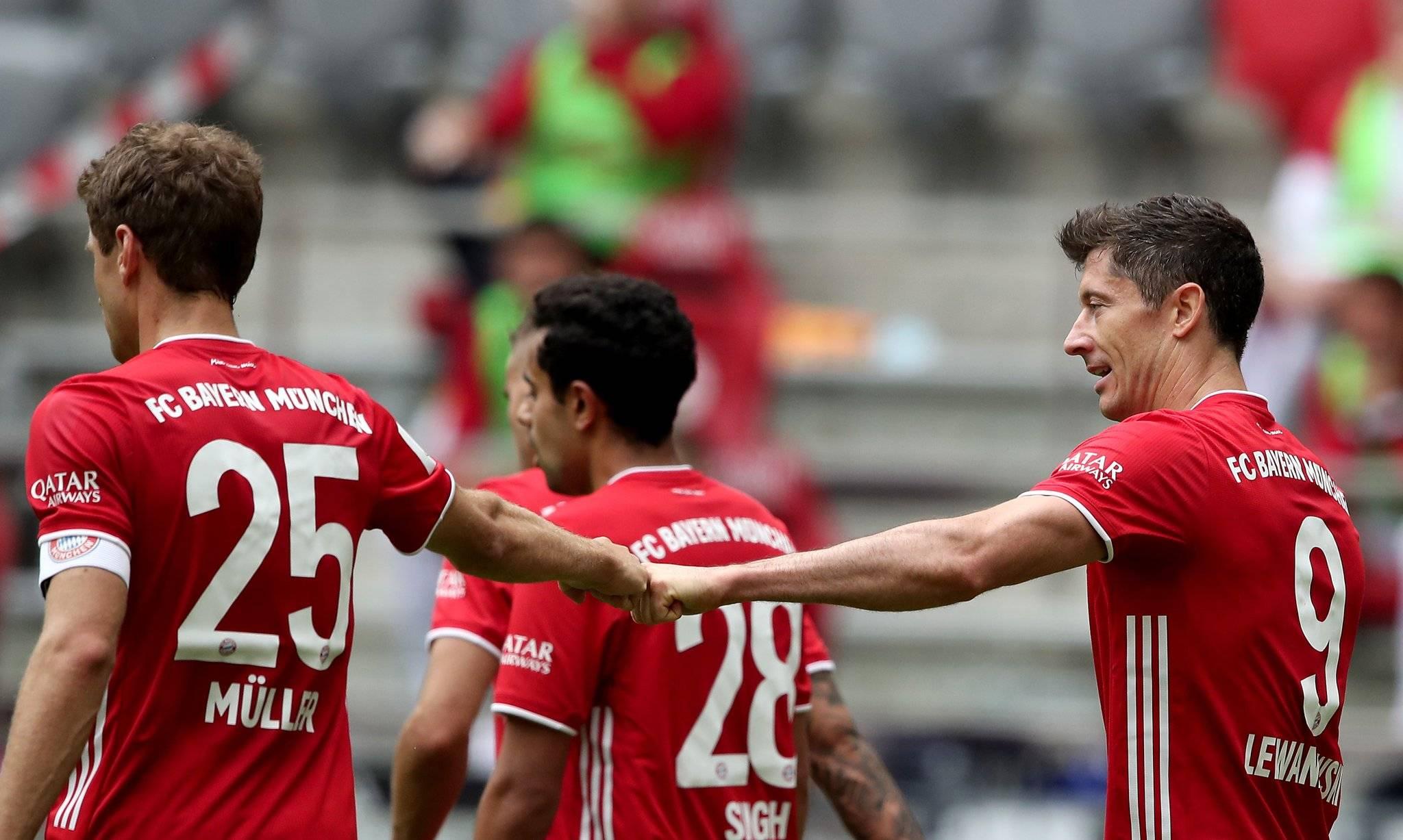 德甲-莱万梅开二度基米希破门 拜仁3-1创连胜纪录