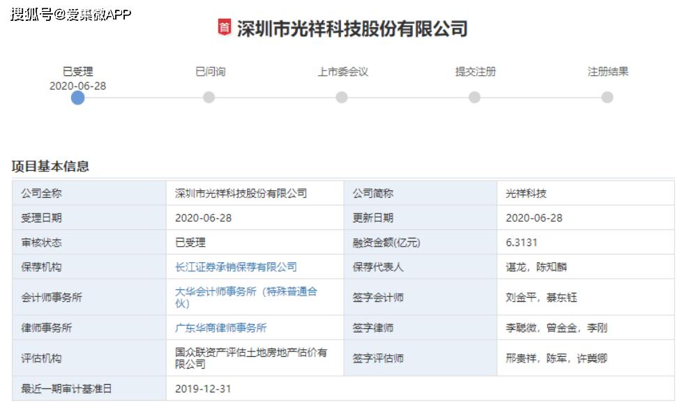 光祥科技创业板IPO获受理募资6.31亿投向