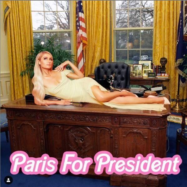 原创 希尔顿为竞选成功真拼!舍弃钟爱芭比色,穿开叉裙侧躺总统办公桌