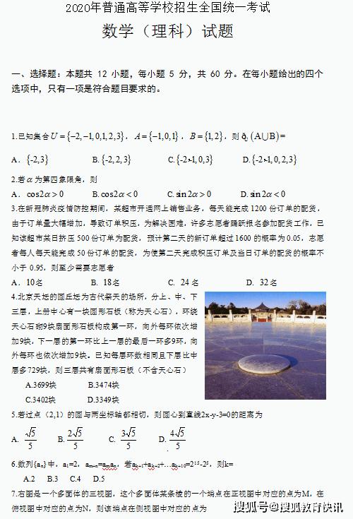 2020年全国II卷理科数学高考真题已发布