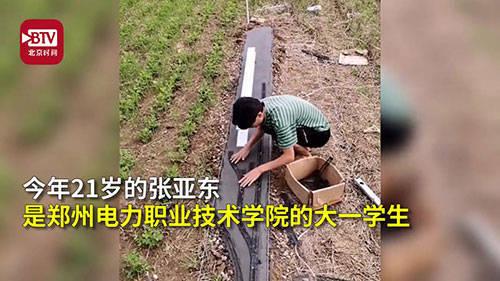 大学生在自家菜地里打造新基建