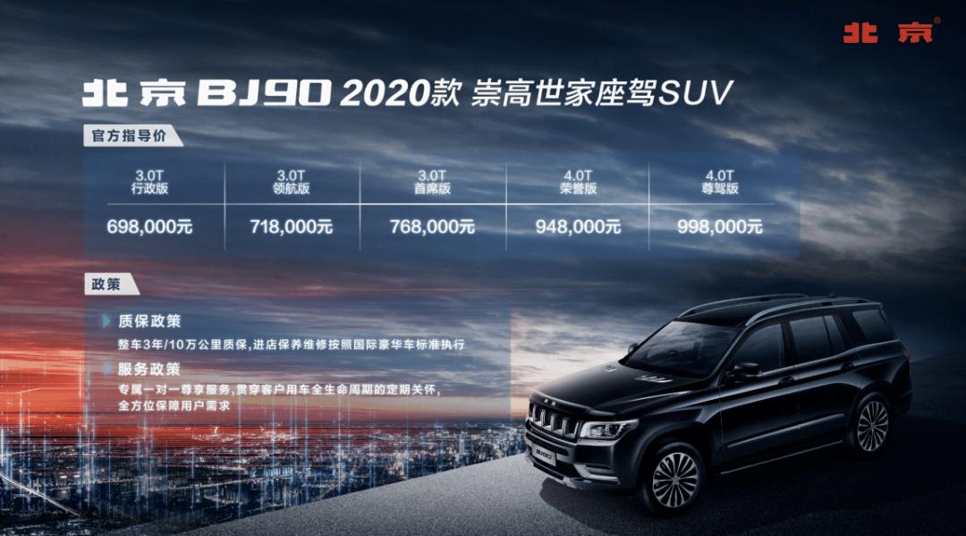 原北京BJ90售价69.8万。国产最贵的越野能卖这么高的价钱吗?