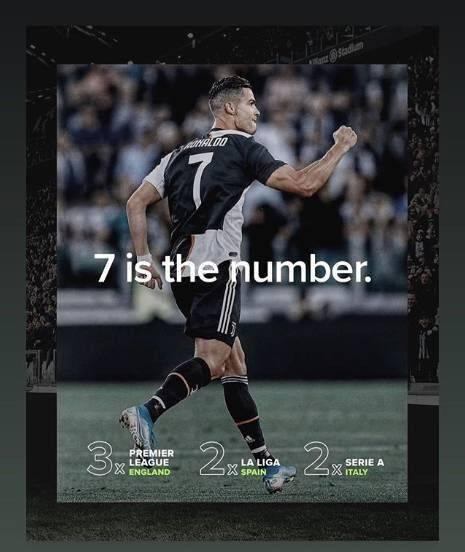 C罗晒照阐述7的含义:3次英超+2次西甲+2次意甲