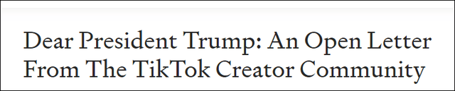TikTok大V联名致信特朗普:TikTok是第一家挑战Facebook垄断的公司