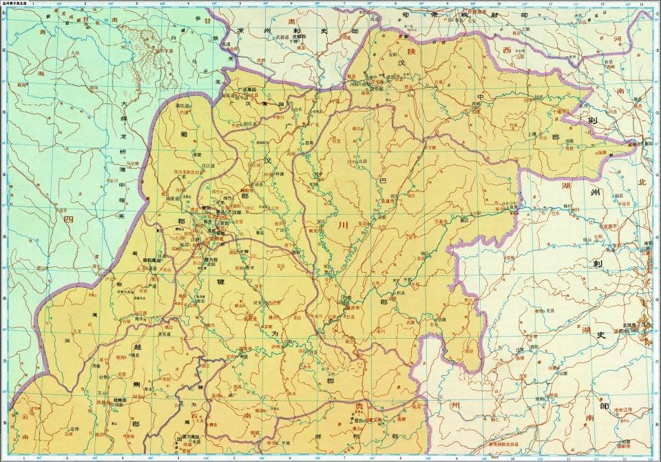 东汉中后期的益州北部(谭其骧《中国历史地图集》)