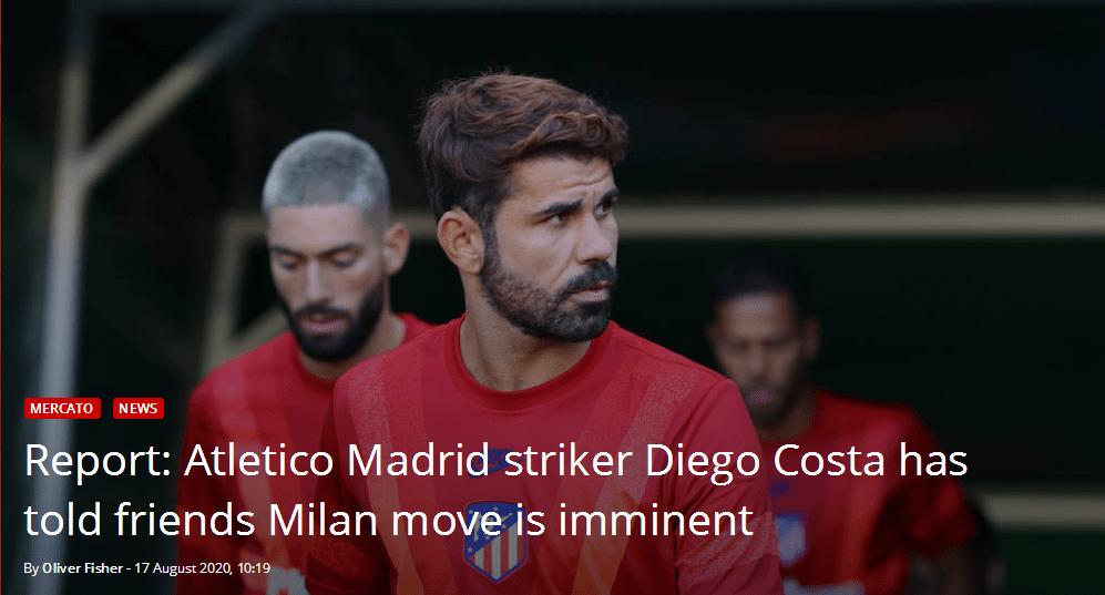哪个米兰?迭戈科斯塔自称下赛季前往米兰城效力