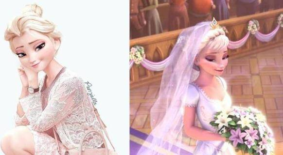 假如艾莎女王来到现代,短T恤、白婚纱,哪件衣服你觉得最好看?