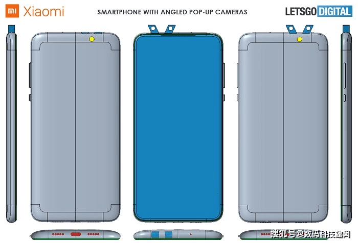 小米手机新专利曝光:采用弹出式设计的前后双摄像头,弹出时像一对兔耳朵