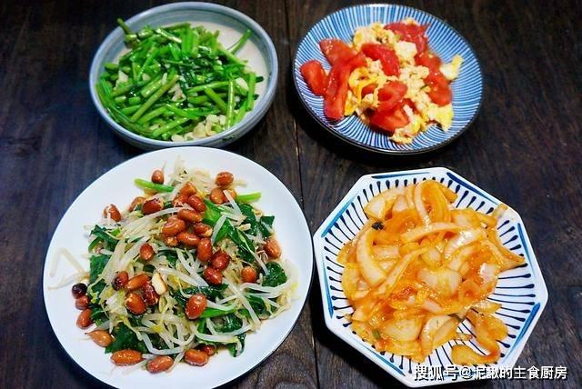 一家三口的极简晚餐,4道素菜,用心搭配,不秋燥过秋天