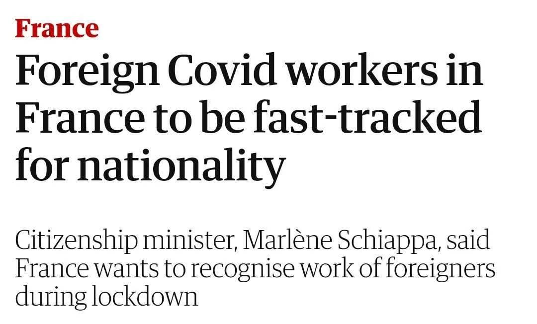 原创             英国卫报 | 外国在法Covid-19相关人员将迅速获得法国国籍