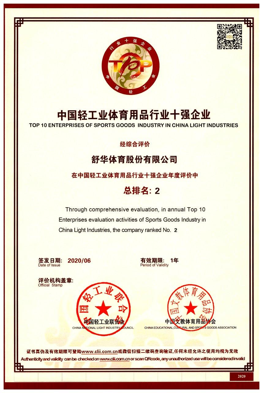 """舒华体育荣获""""中国轻工业体育用品行业十强企业"""""""