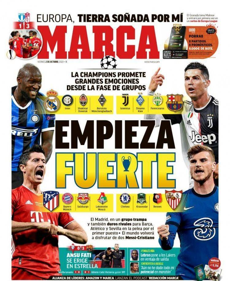 欧洲杯买球app- 西甲今日头版:梅西C罗欧冠小组赛重逢 法蒂状态火热巴萨凯旋(图1)