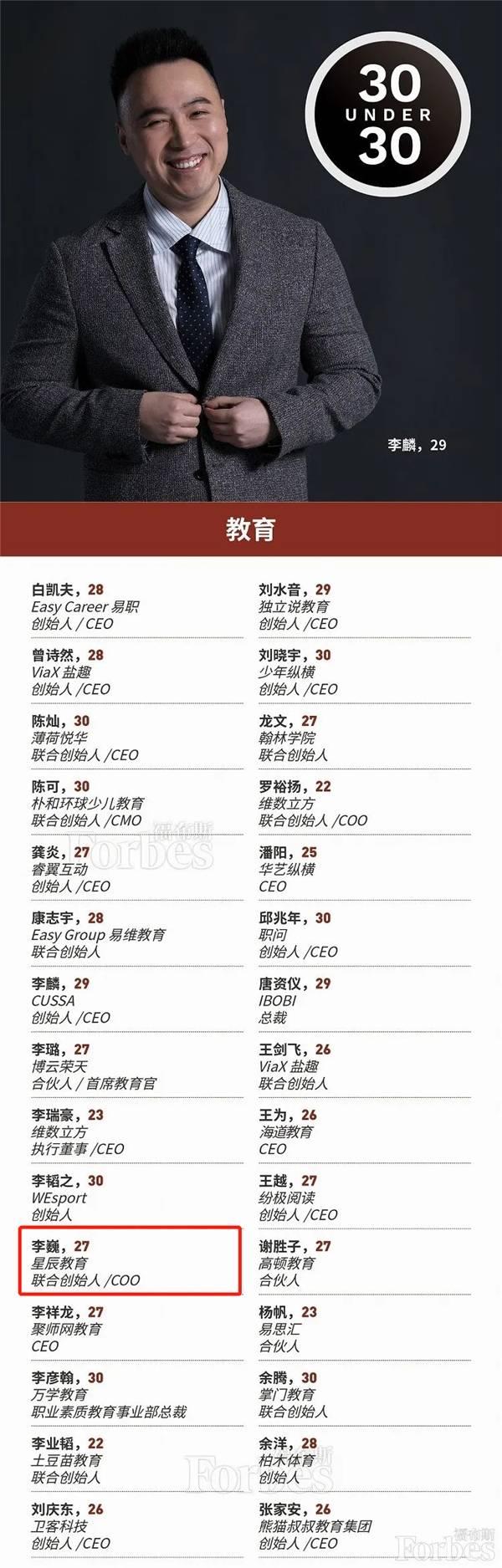 """星辰教育联合创始人李巍入选""""2020福布斯"""