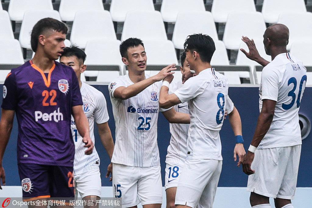半场战报-彭欣力于汉超破门 申花2-0领先珀斯光荣