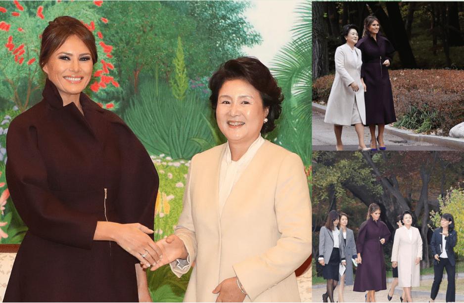 韩国第一夫人金正淑穿挺素,和梅拉尼娅同框,年纪输了气质上反超