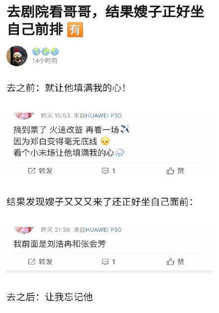 粉丝看郑云龙话剧:嫂子正好坐在自己前排