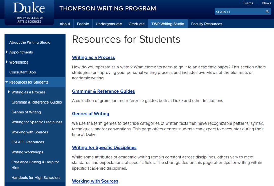 国外大学官方英语写作资源网站