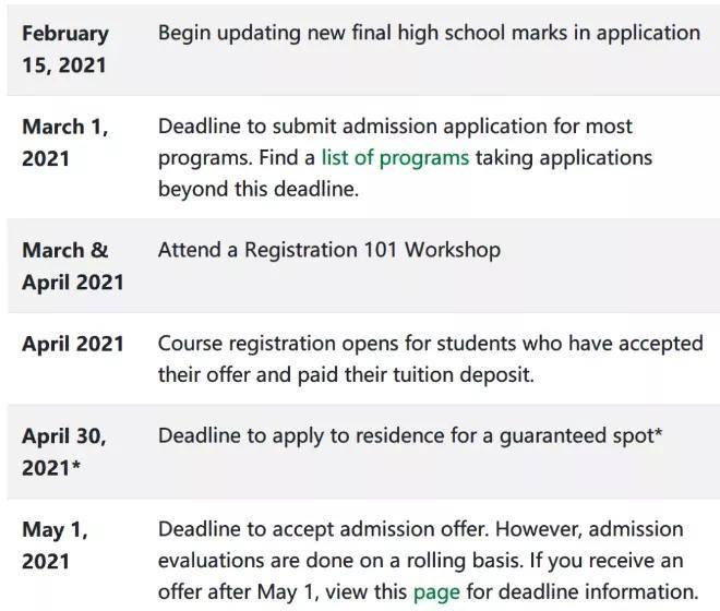 2021秋季申请进入尾声!加拿大热门院校截止日期汇总!