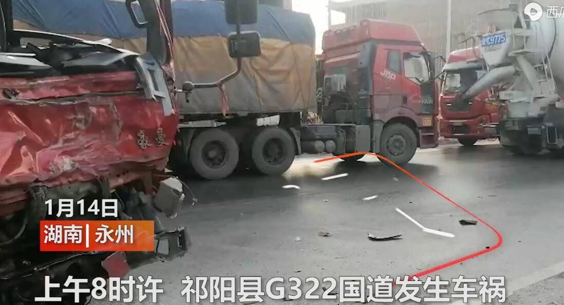 原悲剧!路面洒水结冰,大货车打滑撞上三辆车,现场曝光:造成1死2伤