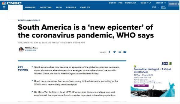"""世卫组织官员最新警告:南美已成疫情新""""震中"""""""
