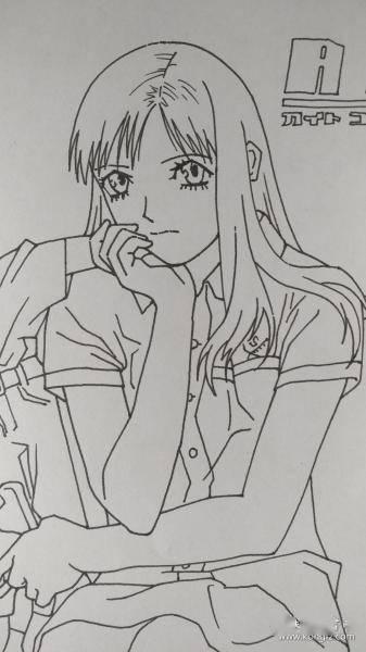 用马克笔画一张美少女