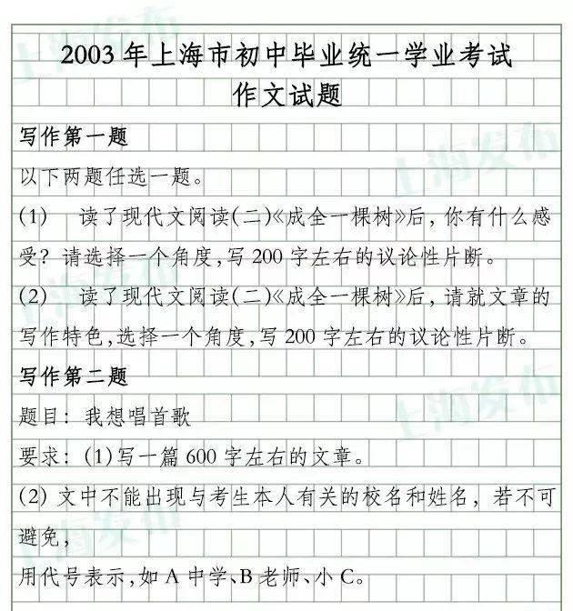 2010年中考作文题目_2020年上海中考语文写作题目来啦!(17年写作题回顾)_Bay