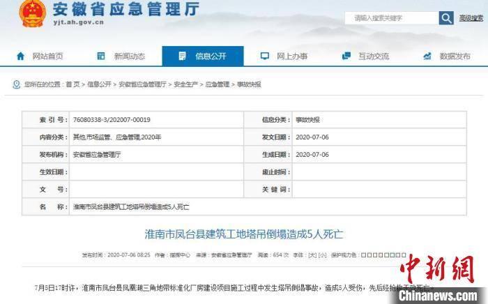 安徽淮南凤台一建筑工地塔吊倒塌造成5人死亡