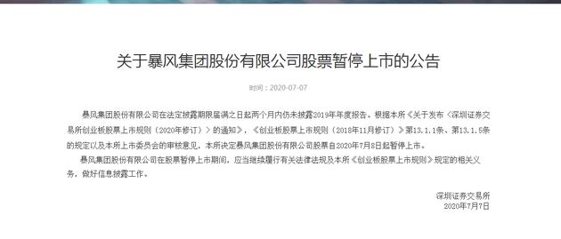 深交所:暴风集团股份有限公司股票暂停上市
