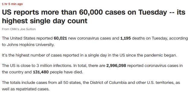 美国单日确诊60021例,又创新高