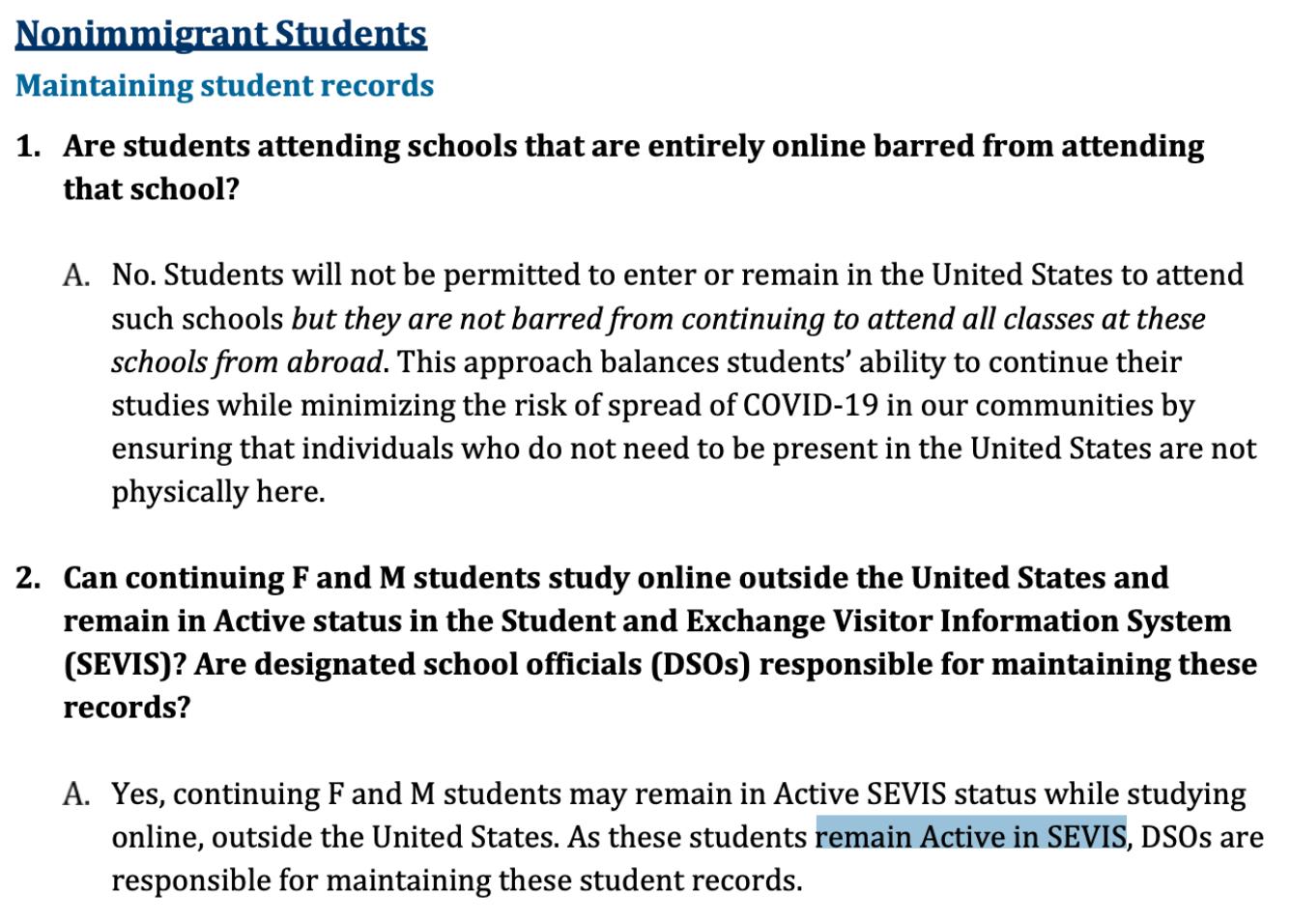美国入境与海关执法局(ICE)修改针对留学生的签证新政