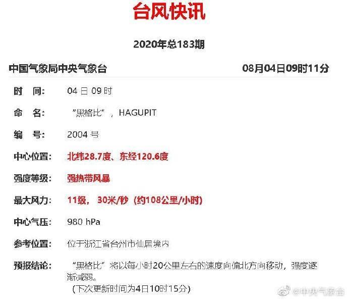 """""""黑格比""""强度由台风级降为强热带风暴级 目前中心位于浙江台州  span class="""