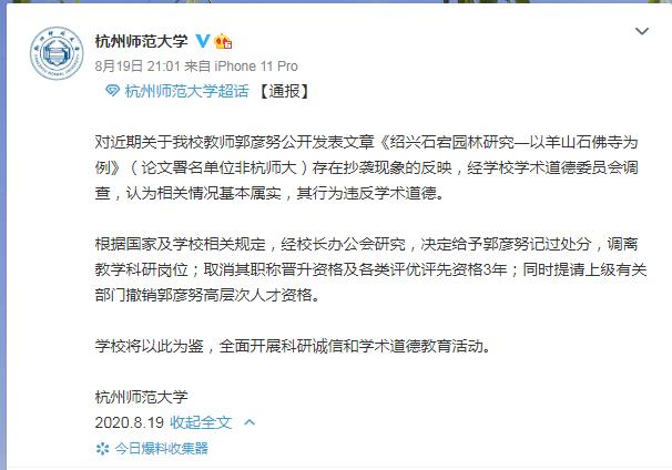 杭师大教师论文抄袭被处理,原作者:更看重署名单位的处理