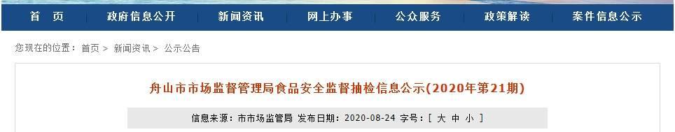 <strong>浙江省舟山市抽检的60批食用农产品全部</strong>