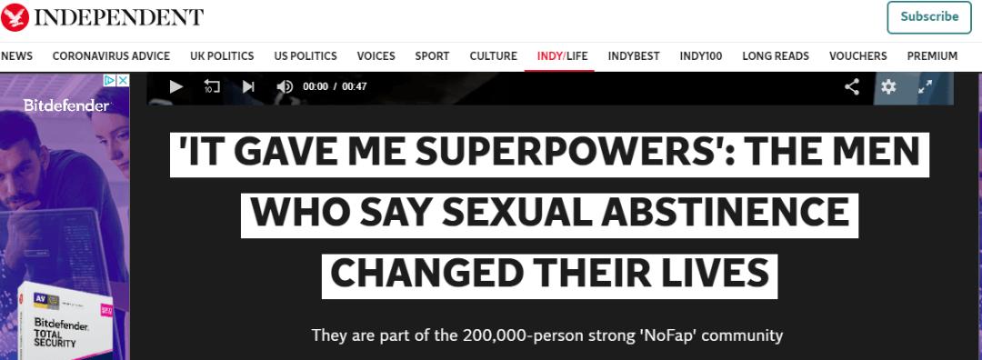 """《独立报》:""""它给了我超能力"""":男人说戒色如何改善了他的生活"""