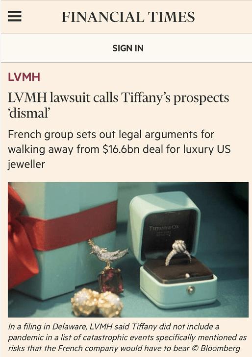 """""""寰球最大奢华品结亲案""""衰落后续,LVMH和蒂芙尼都把对方告了!"""