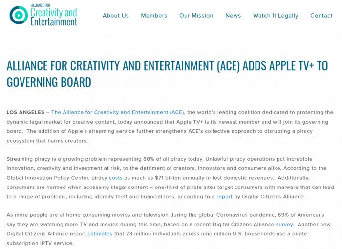 """苹果AppleTV+加入""""创意与娱乐联盟""""助力反盗版事业"""