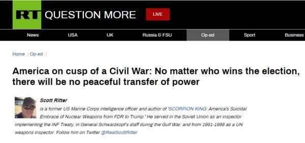 前美军情报官员:美国处在内战边缘,谁胜选都不会有权力的和平交接