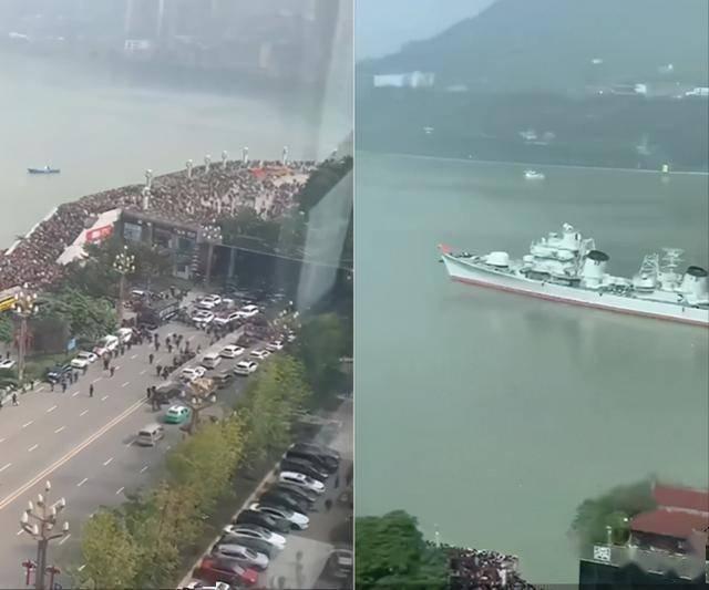 太热情了!珠海舰抵达重庆,涪陵港上人山人海,只为一睹名舰风采