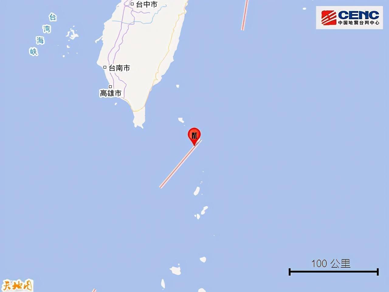 台湾台东县海域发生4.6级地震 震源深度12千米