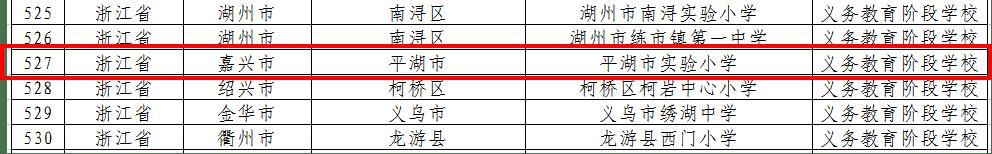 喜报!教育部最新公布!平湖这所学校入选国家级名单!