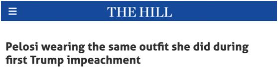 只是巧合?美媒发现:两次投票弹劾特朗普,佩洛西都穿同一件衣服、戴同一条项链