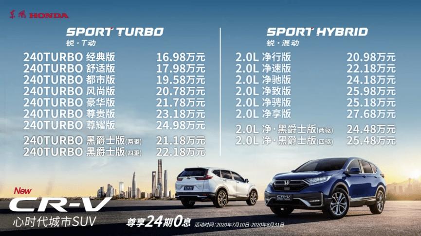 """中期改款CR-V上市 新增""""黑化""""版 售16.98万~27.68万"""