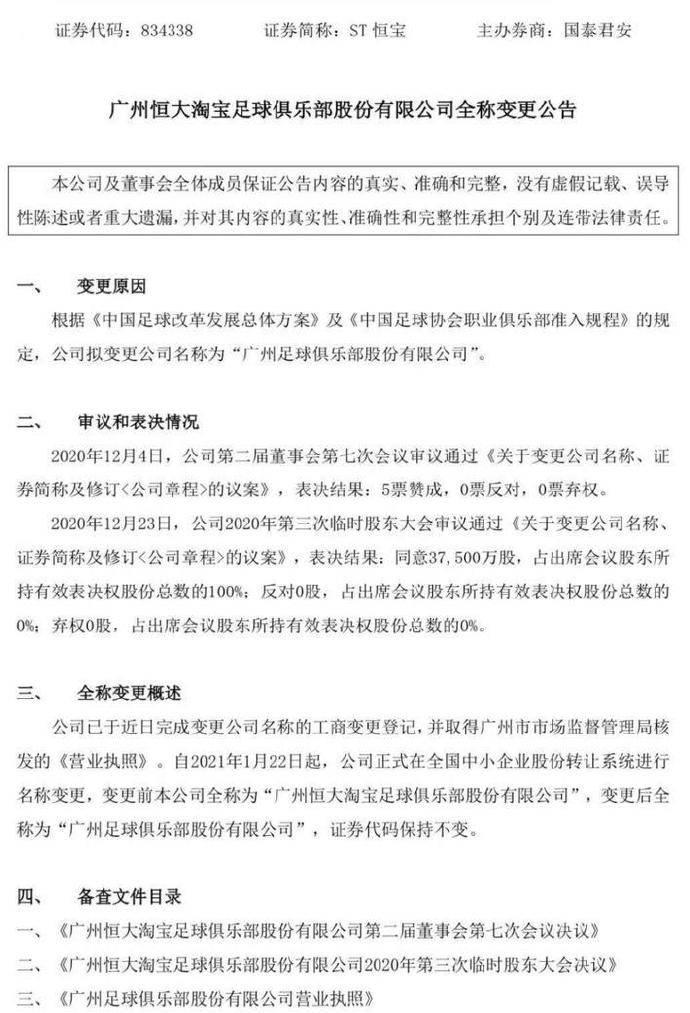 恒大宣布更名为广州足球俱乐部有限公司