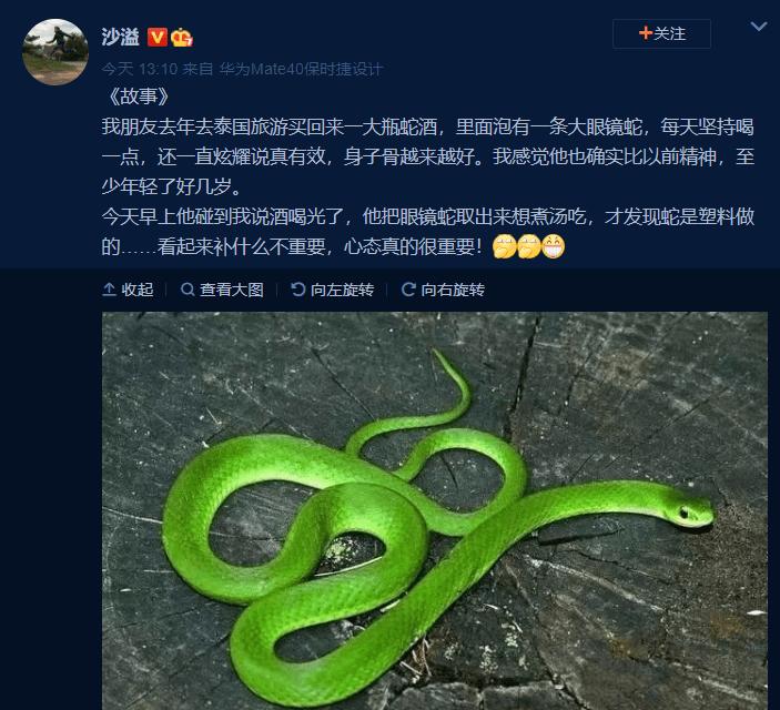 心态很重要?沙溢朋友买到了装塑料眼镜蛇的蛇酒