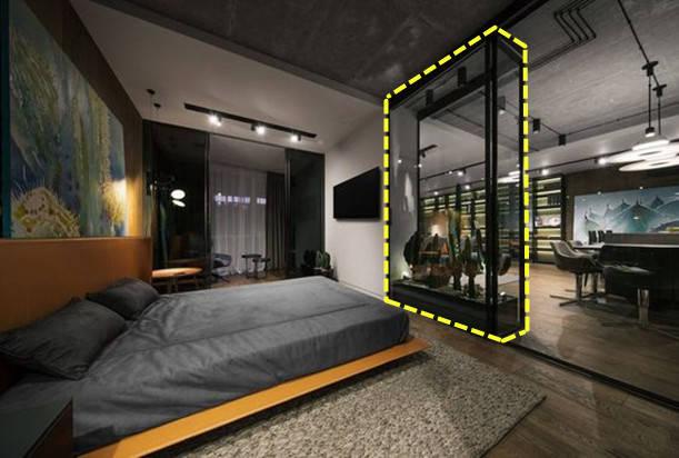 """有钱人真会装,玻璃围个""""花园""""拼接电视墙,做卧室隔断用刚好"""