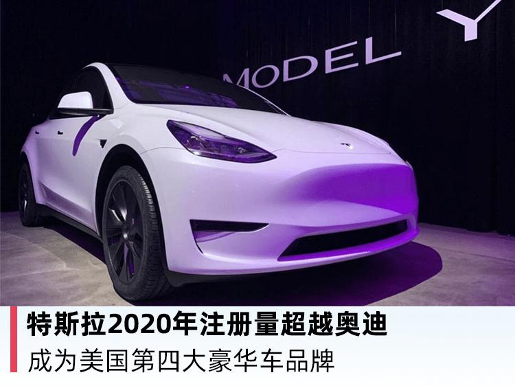 2020年注册的原厂特斯拉超越奥迪成为美国第四大豪车品牌