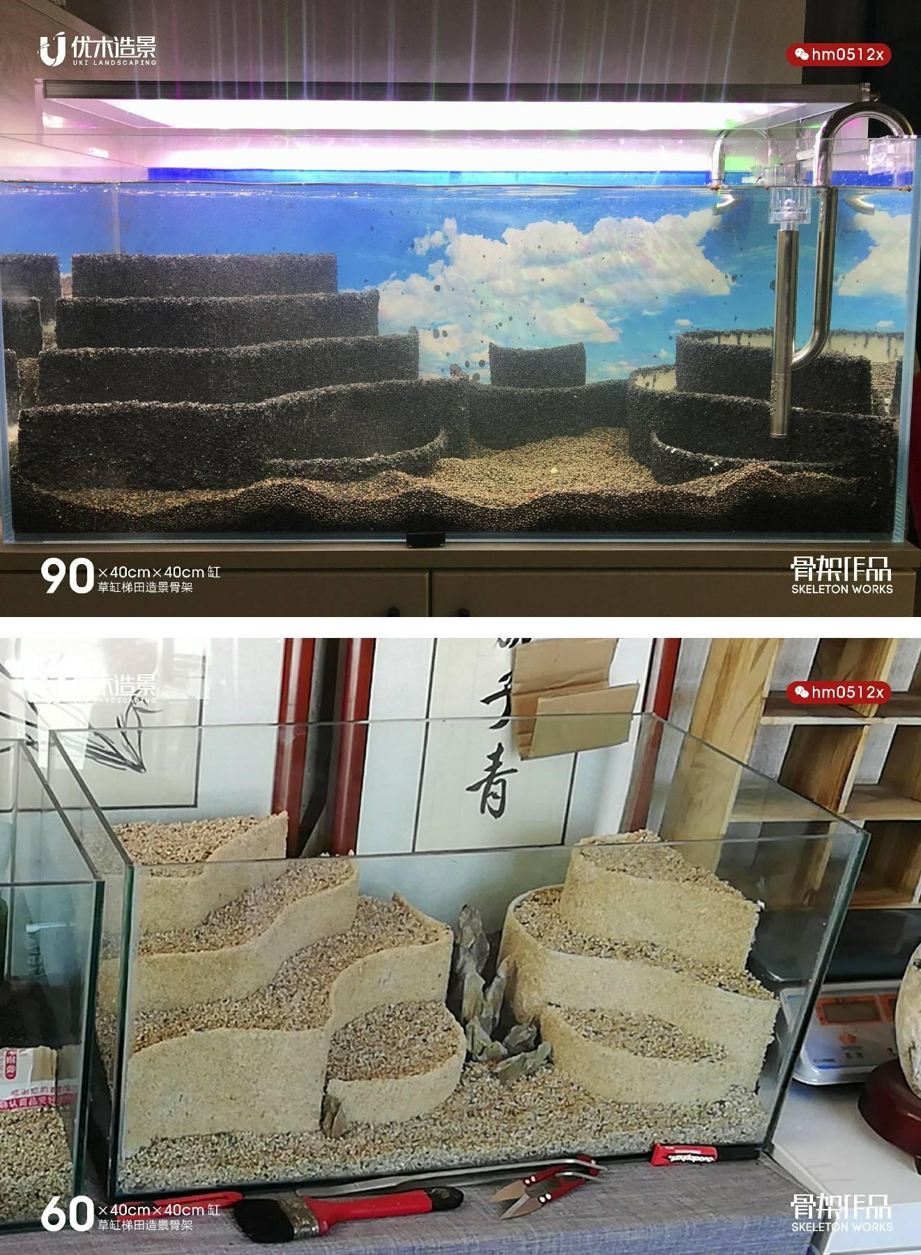 各种不同草缸的梯田造景骨架布草返图