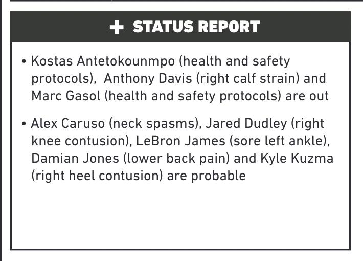 湖人更新伤病名单:浓眉哥、小加缺席步行者,詹姆斯、卡鲁索成疑